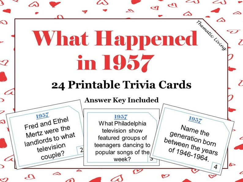 63rd Birthday 1957 Trivia Cards Anniversary Games | Etsy