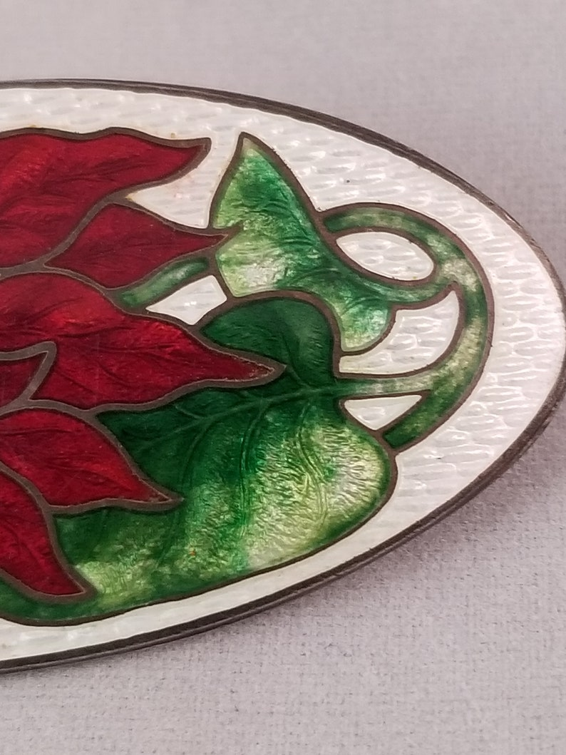Vintage Cloisonne Red Poinsettia Sterling Brooch