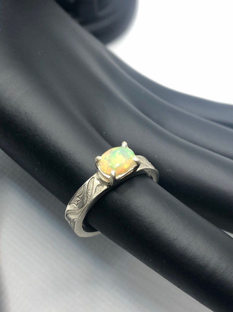 Sterling Silver-Size 7 With Ethiopian Opal