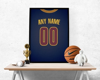 3838d44f9 Cleveland Cavaliers Jersey Poster - Print Personalized Select Any Name    Any Number