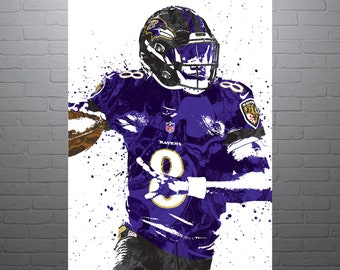 87edca6827c Lamar Jackson Baltimore Ravens Poster, Sports Art Print, Basketball Poster,  Kids Decor, Man Cave