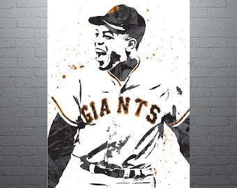 7ece60e1c29 Willie Mays San Francisco Giants Poster, Sports Art Print, Baseball Poster,  Kids Decor, Man Cave
