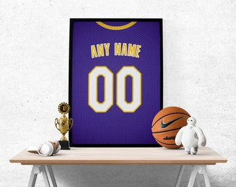 81f855b6747 Los Angeles Lakers Purple Jersey Poster - Print Personalized Select Any  Name   Any Number