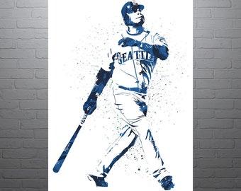 4f14e0796 Ken Griffey Jr Seattle Mariners Poster, Sports Art Print, Baseball Poster,  Kids Decor, Man Cave