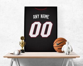 Miami Heat Jersey Poster - stampa personalizzata selezionare qualsiasi nome  e qualsiasi numero 859532870bfc
