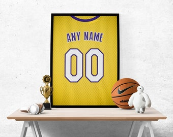 729c86991dc Los Angeles Lakers Gold Jersey Poster - Print Personalized Select Any Name    Any Number