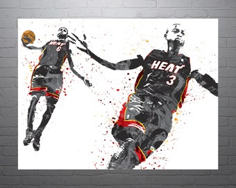 fbd5a033 Dwayne Wade and LeBron James Miami Heat Poster, Sports Art Print, Basketball  Poster, Kids Decor, Man Cave