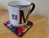 Multicolor Alcohol Ink Ceramic Square Print Tile Coasters - 5 Colors