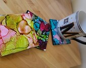 Multicolor Alcohol Ink Ceramic Square Print Tile Coasters -Majenta, Rosé Green