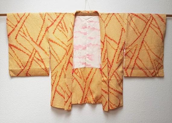 Japanese A073002 Un tailored Orange haori Kimono Vintage