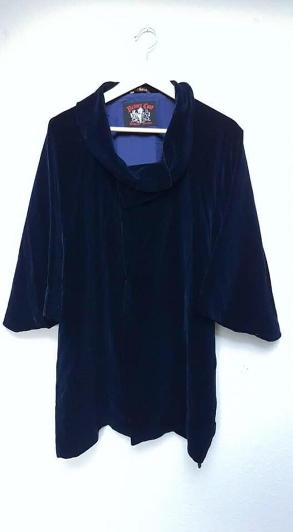 royal blue velvet kimono coat/ Japanese vintage