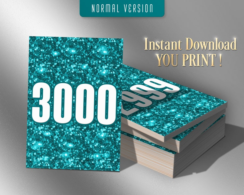 Bling Bling Normal White Turquoise Mirrored 1-3000 Number Cards Glitter Sale Tags Sparkle 3000 Printable Facebook Live Numbers