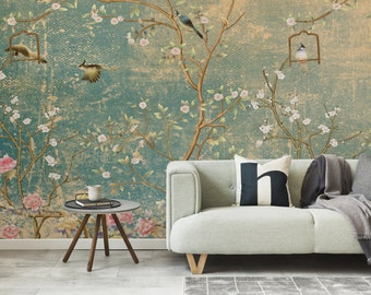 Chinoiseries  Wallpaper, Peel and Stick Floral Wallpaper, Roses & Birds, Removable, Odour Free, Washable, Custom Wallpaper. Home Decor