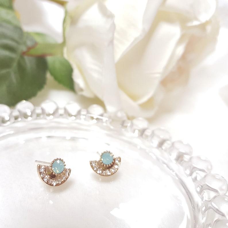Antique Earrings Unique Earrings mint Korean Earrings Silver Post Cubic Stud feminine Earrings Dainty Earrings half moon earring