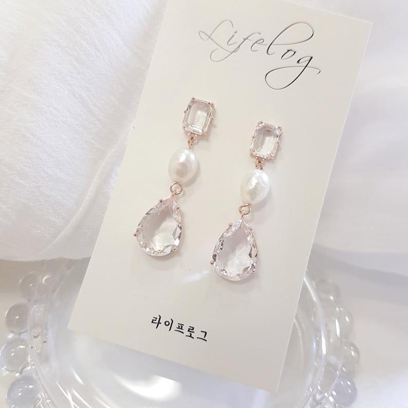 Pearl Drop Earrings Teardrop Cubic Earrings Korean Earrings kpop jewelry Bridal Dangle Bridal Jewelry Pearl Gift Transparent crystal