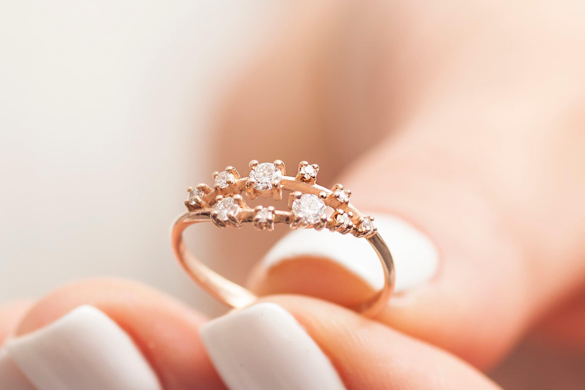 Rose Gold Engagement Ring For Women, Diamond Engagement Ring, Two bands  Engagement Ring, Modern Engagement Rings, Engagement Band