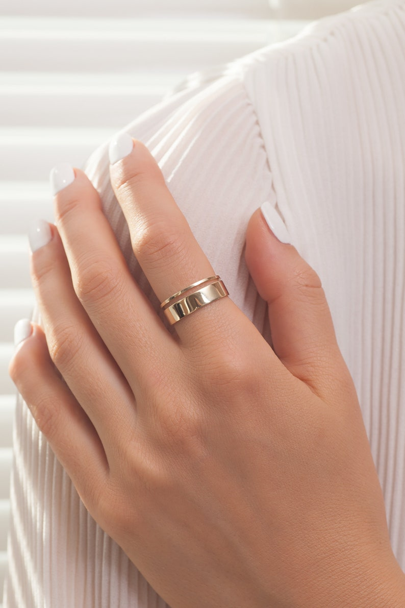 5 mm width Yello Gold  Plain thick gold ring  Wide 14K gold stackable women ring