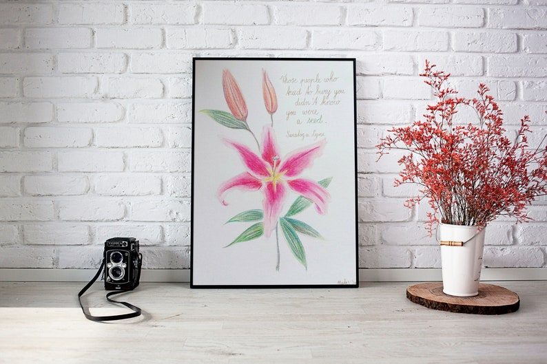 6087fe928e1 Vibrant wall art flower drawing Pink lilly original color | Etsy