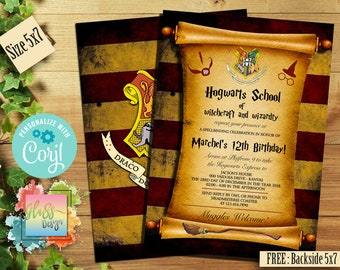 Editable Harry Potter Invitation Magical Birthday Party Invite Boy Girl Printable Wizard