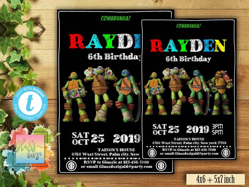Ninja Turtle Birthday Invitation Turtles Invitations CJE11 Edit Now