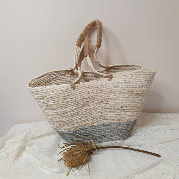 Coiled rope tote market bag.