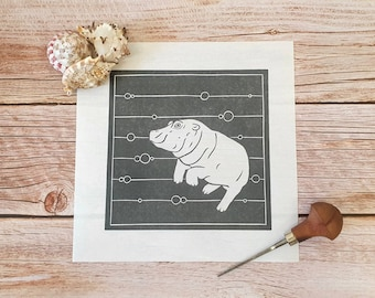 Hip Hip Hooray - Original linocut print of a happy hippo underwater