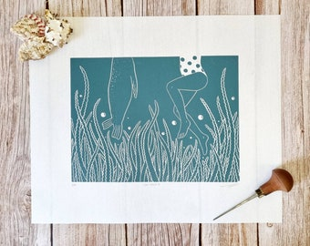 Oh! Hello -  Original linocut print inspired by wild swimming adventures and those unexpected encounters with seals