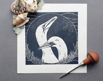 Gannets - Original linocut print of two Gannets by the coast