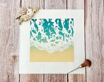 Shoreline - Original limited edition linocut print of a beach shoreline in summer