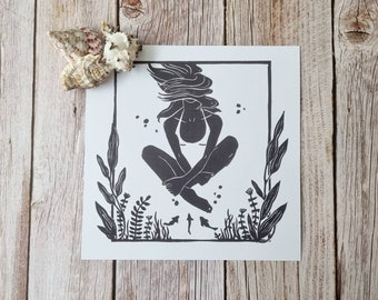Unexpected Guest- wild swimming inspired digital print created from my original linocut artwork