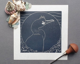 European Shag - Original linocut print of a European Shag by the coast