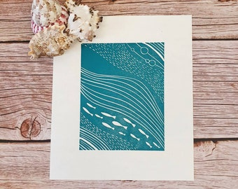 Flow - Original linocut print of a shoal of fish underwater moving with the flow
