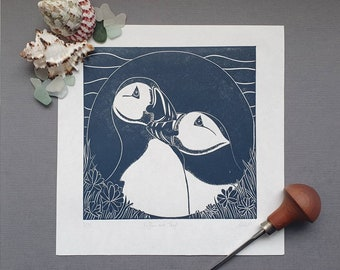 Puffins and Thrift - Original linocut print of two puffins with the iconic cliff top thrift (sea pink) Artist Proof