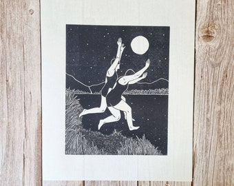 Midnight Splash- Original second edition linocut print of two women jumping into water under a full moon and starry sky