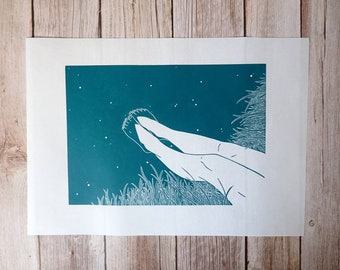 Two feet in-  Original linocut print inspired by wild swimming adventures