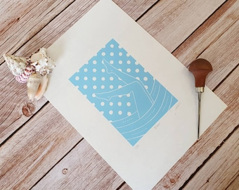Snow - Original linocut print inspired by wild swimming adventures whatever the weather!