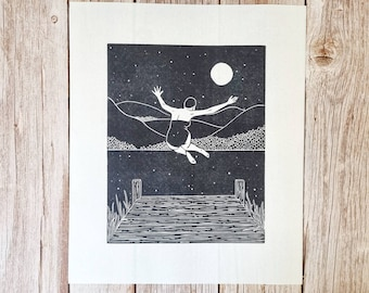 Moonlit Joy- Original limited second edition linocut print of a women jumping into water under a starry sky and full moon