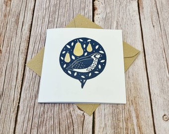Partridge in a pear tree- Single handprinted square christmas card with brown envelope (blank inside)