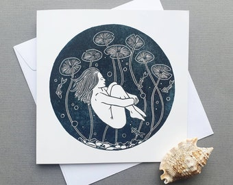 Serenity - Single square greetings card of a woman underwater with white envelope (blank inside)