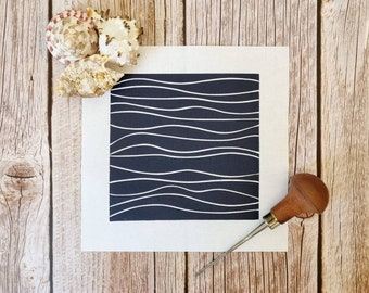 Waves - Original linocut print inspired by the sea and the lines that waves make