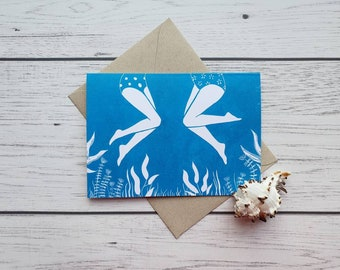The Conversation - Single Greetings Card with recycled brown envelope (blank inside)
