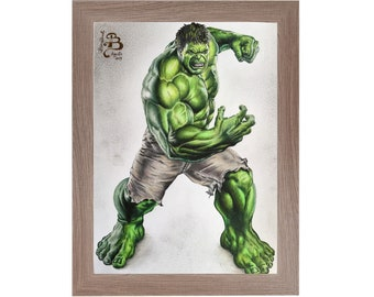 Original handmade drawing print with colored pencils from The Incredible Hulk