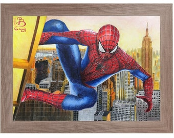 Original handmade design and printing with spiderman colored pencils in New York