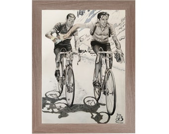 Original handmade drawing print with colorful pencils of Coppi and Bartali exchange water bottle
