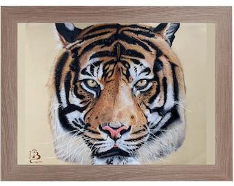Original handmade drawing print with colorful Tiger pencils
