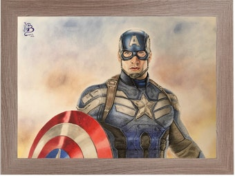 Original handmade print and design with coloured pencils by Chris Evans in Captain America The Winter Soldier