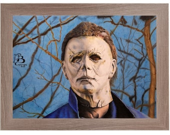 Original handmade drawing print with colored pencils by Michael Myers - Halloween