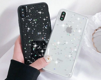27d67bf0499e Glitter Bling Sparkle Sparkly Silicone case cover for Apple Iphone XR XS  MAX X 8 7 6 Plus transparent Black Stars Glittery