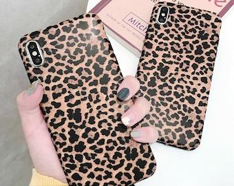 4c7e60ef36e0 Leaopard Print Design Effect Plastic case cover for Apple Iphone XR XS MAX  X 8 7 6 Plus Black Brown