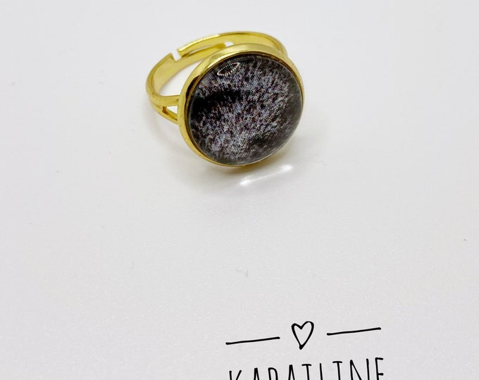 Adjustable adjustable fancy ring 14mm glass cabochon gold support printed black and white unique fur